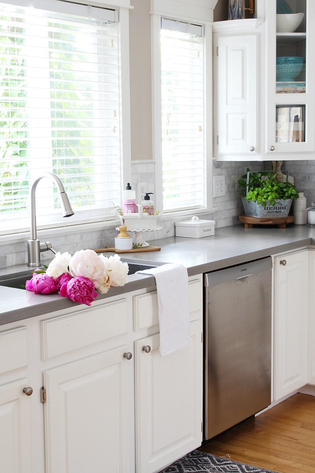 summer kitchen ideas rental decorating and home tour clean white farmhouse style with beautiful pink peonies in the sink