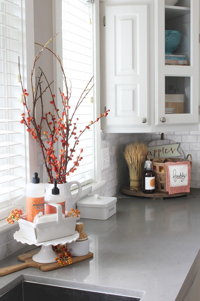 fall kitchen decor cabinet com clean and scentsible ideas faux orange berries dish soap add a pop of