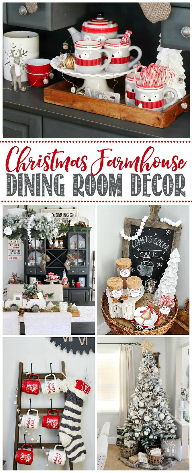 Farmhouse Christmas Dining Room Decorations Red Black