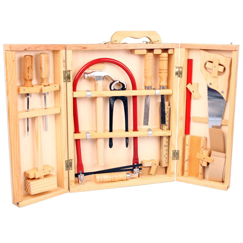 Kinder Werkzeugkoffer Lino aus Holz, mit 12 Werkzeugen