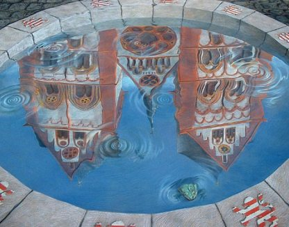 3D Building Art - Reflection of Church Closeup - Kurt Wenner