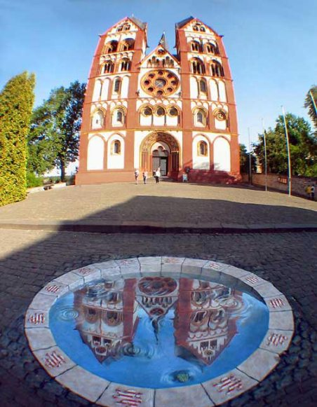 3D Building Art - Reflection of Church - Kurt Wenner