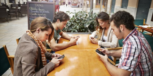 Anti-social teenagers on phones