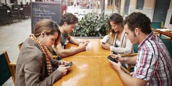 Anti-social teenagers on phones