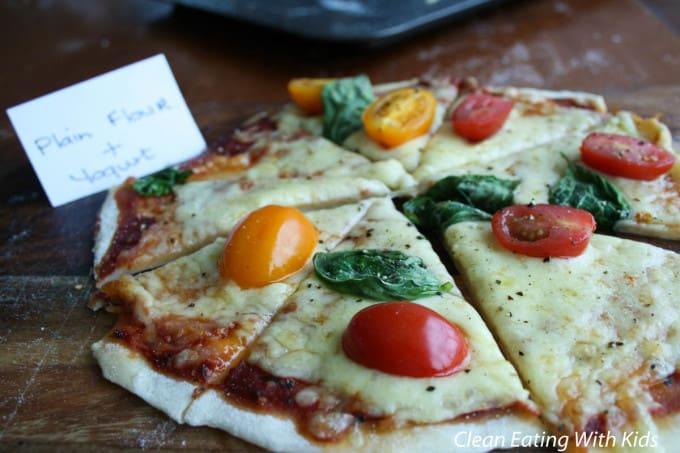two ingredient pizza dough using plain flour and yogurt.