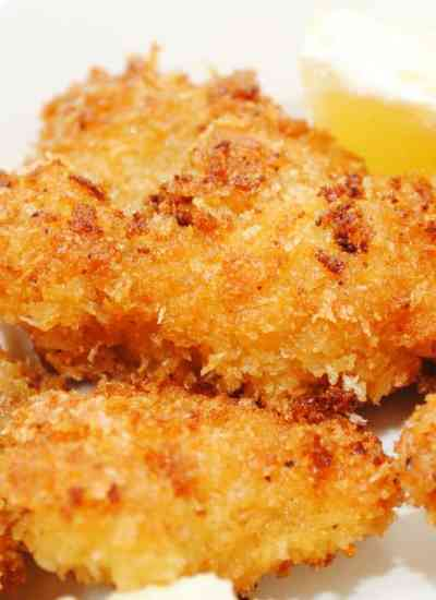 golden and crispy clean eating fish nuggets
