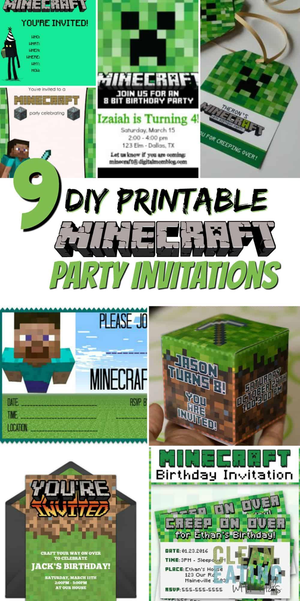 free diy printable minecraft birthday