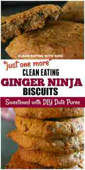 Soft and Chewy Clean Eating GINGER NINJAS. Amazing Ginger Biscuits sweetened with Date Puree. Deliciously Soft and Chewy!!!