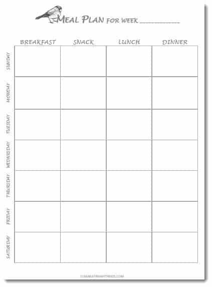 Free Printable Weekly Meal Plan Template Clean Eating With Kids