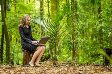 woman working in a forest