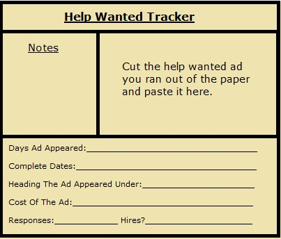 Track your help wanted ads for maximun effectivness