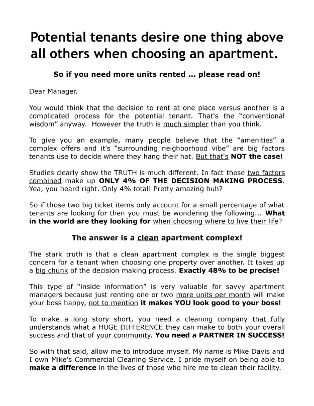 Apartment Cleaning Sales Letter Page 1