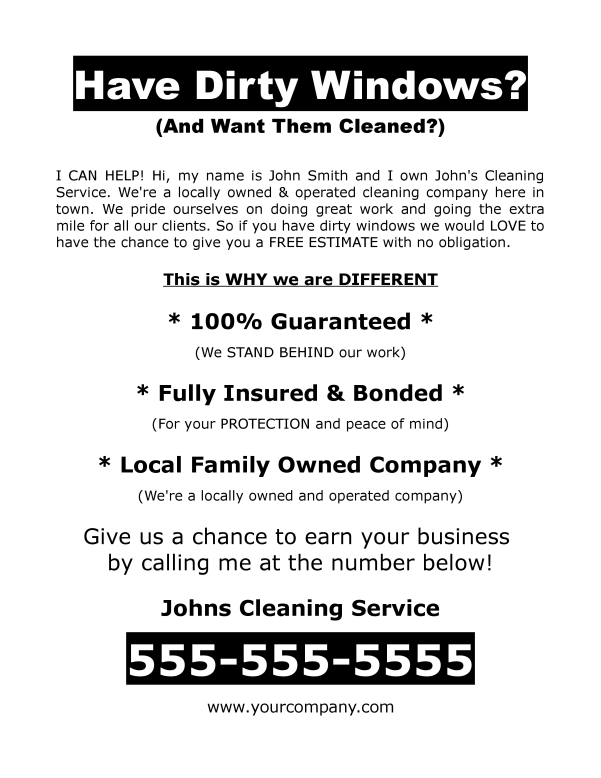 Window flyer for getting jobs to clean windows