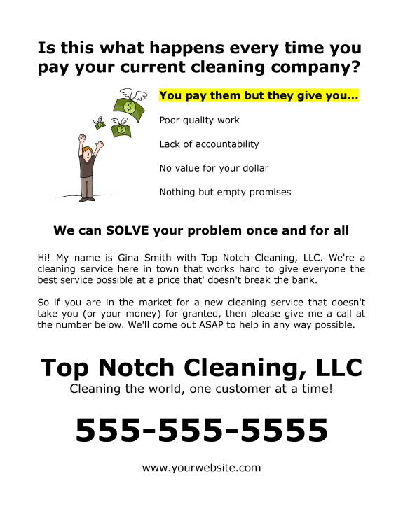 FREE Flyer Example For Commercial Or Residential Cleaning