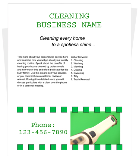 Free Cleaning Flyer Templates By Cleaningflyer.Com