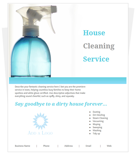 Free House Cleaning Flyer Template By CleaningFlyer Com