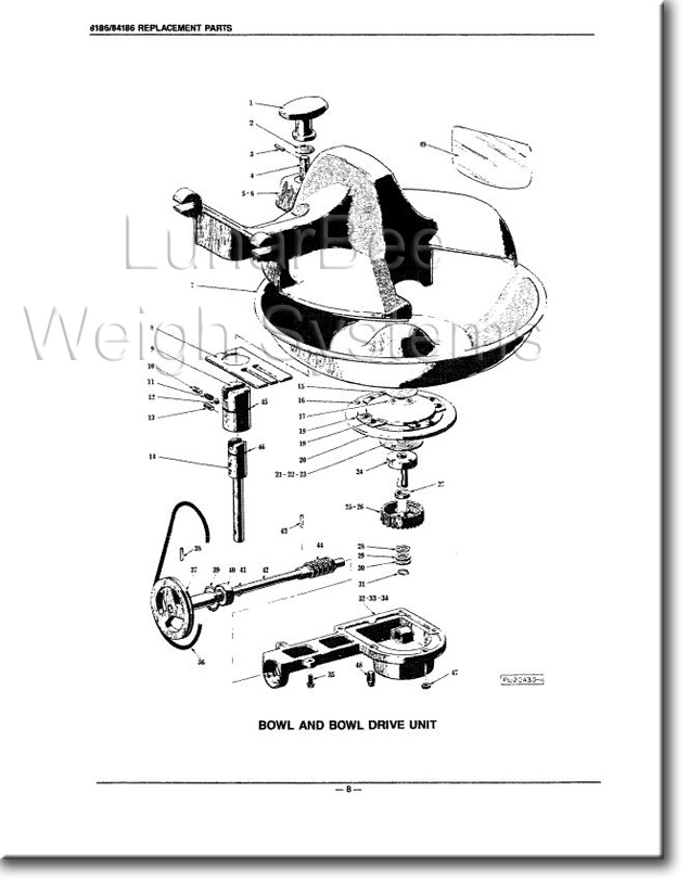 Hobart 8186 84186 Food Cutter Operation Instruction Parts