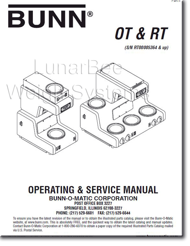 Bunn Bunnomatic OT RT Coffee Maker Operation Service