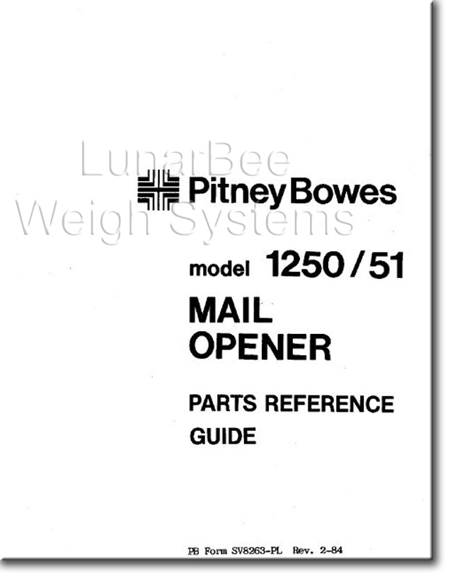 Pitney Bowes 1250 1251 Letter Mail Opener Parts List Manual