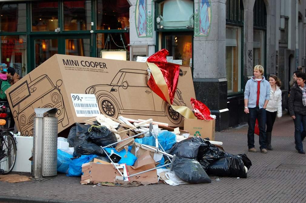 mini cooper doos op vuil