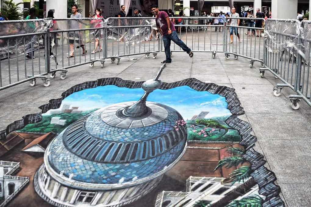 3d street art bij de bugis junction in singapore