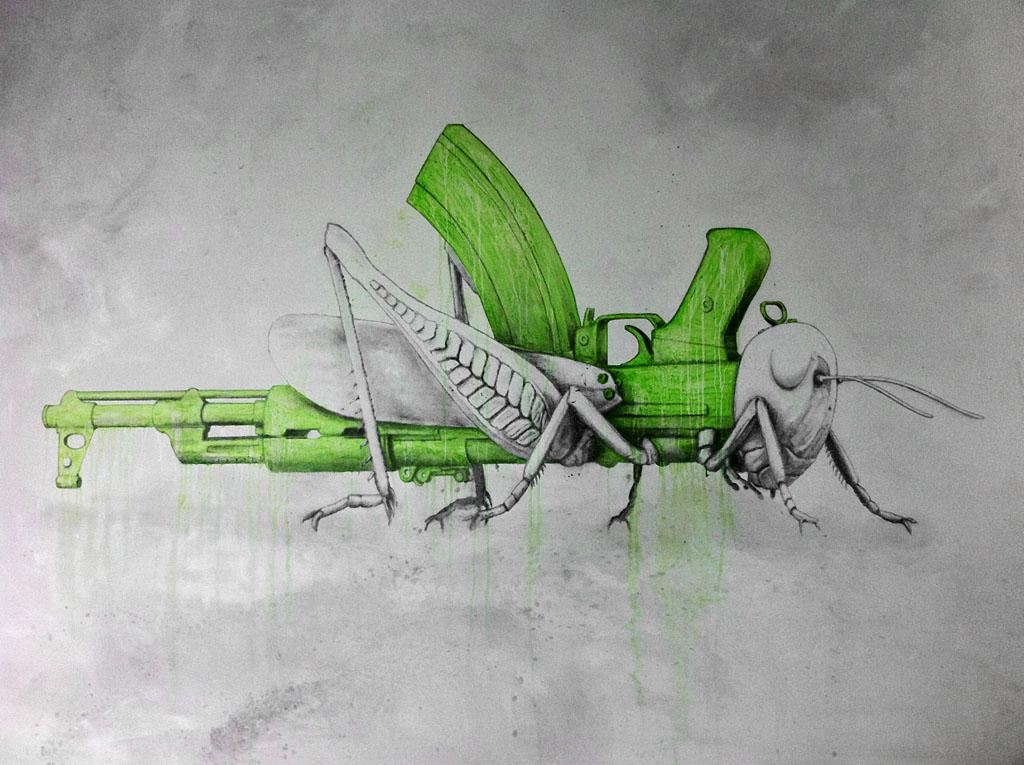 Sprinkhaan als geweer op muur
