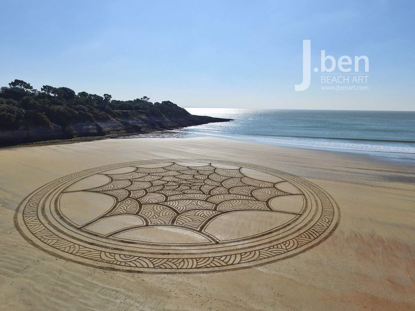 een cirkel met verschillende gradaties zand