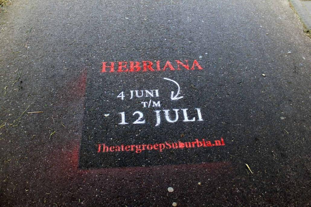 Plaatsing boodschap Hebriana voor theatergroep Suburbia