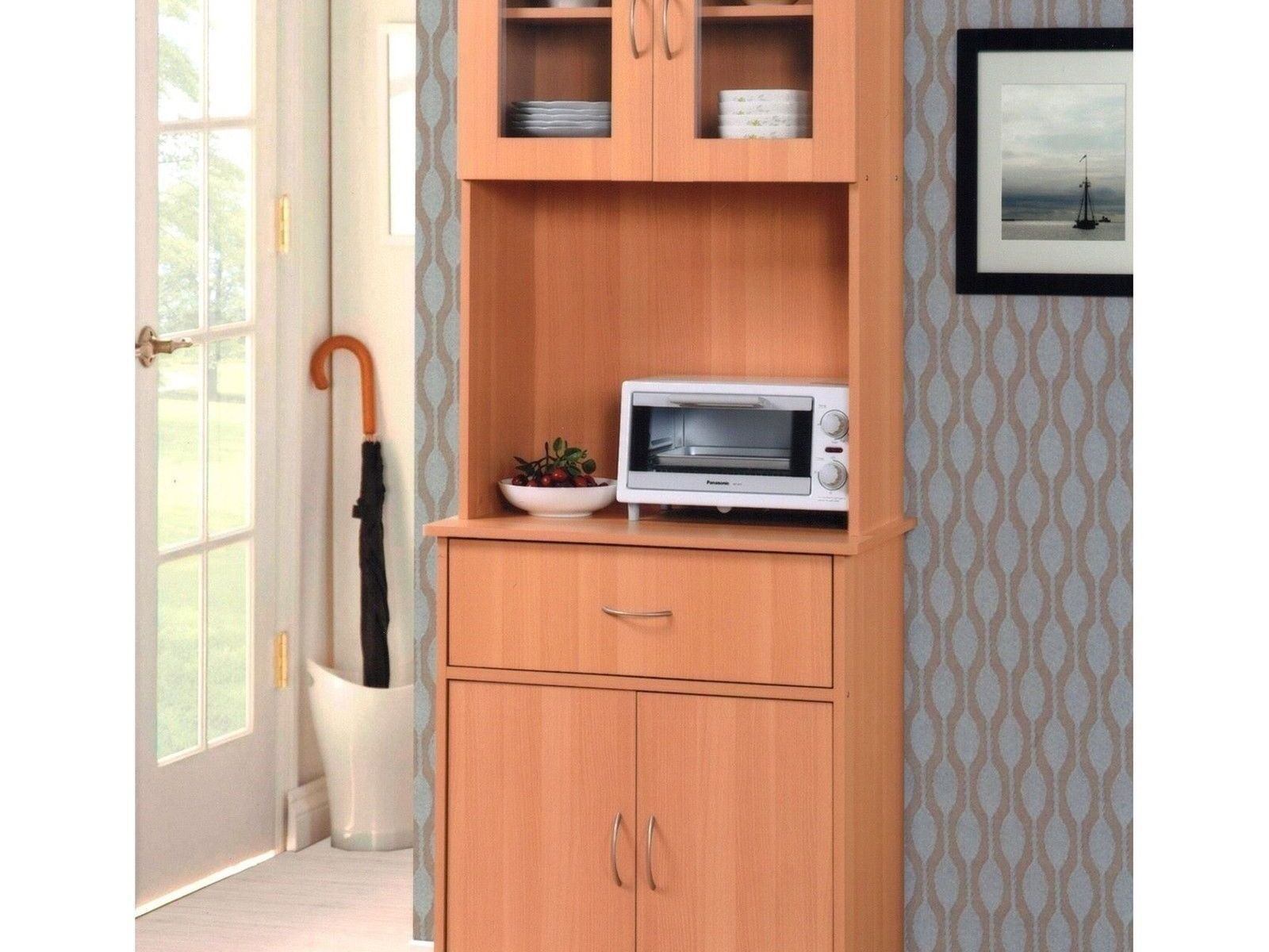 New Tall Kitchen Microwave Stand Beech Utility Cabinet Storage Shelves Cupboard The Clearance Castle Llc