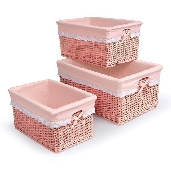 Set 3 Coral Wicker Baskets Nesting Nursery Bins Fabric Lined Storage  Rectangular U2013 The Clearance Castle, LLC
