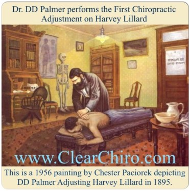 Dr. DD Palmer performs the first chiropractic adjustment on Harvey Lillard
