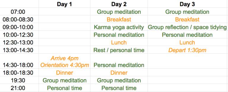 Meditation Retreat Schedule