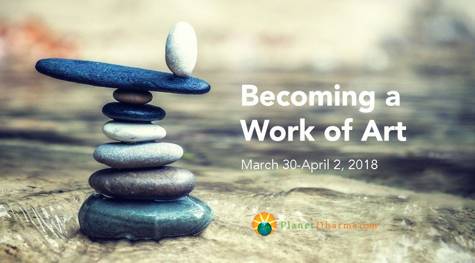 Becoming a work of Art meditation retreat banner - stones piles on sand, zen style