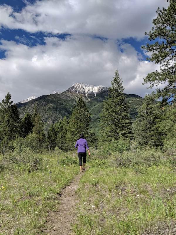 Woman hiking toward Bull Mountain