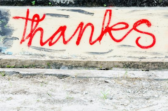 thanks in red lettering