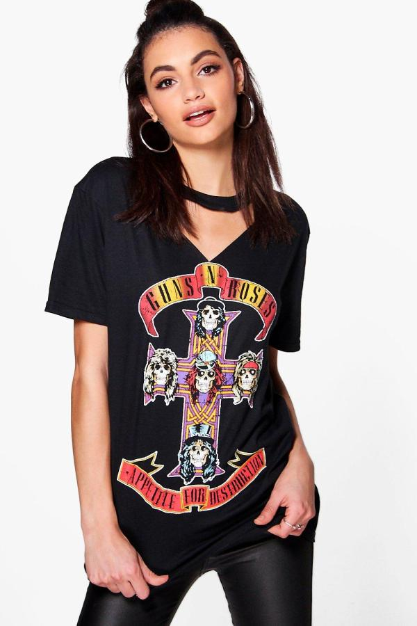 Official Womens Guns Roses T Shirt Tee Cut Neck