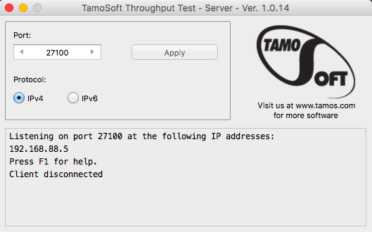 Screenshot of TamoSoft Throughput Server