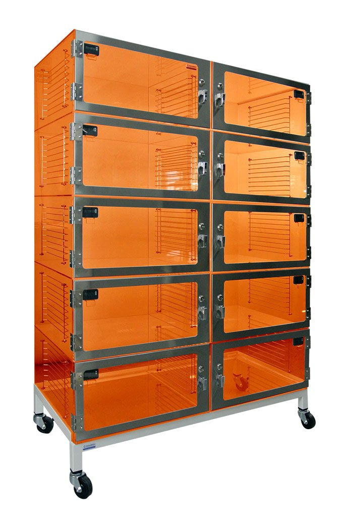 Desiccator Cabinet - 10 Door Amber Acrylic 48x18x60 by Cleatech