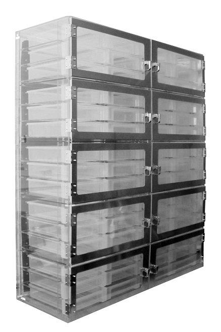 Ten Door Tote Box Desiccator Clear Acrylic 52x18x62 - Cleatech Scientific