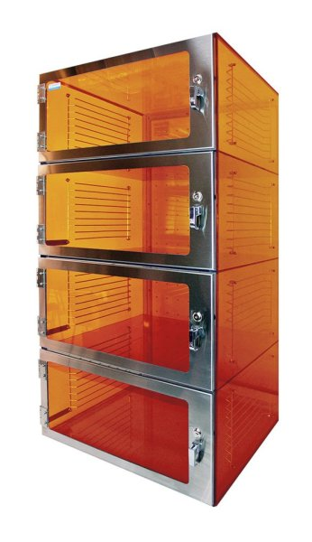 Amber Acrylic Desiccator Four Door - Cleatech