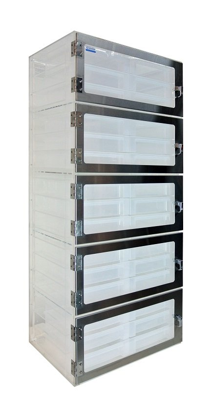 Five Door Sliding Drawer Desiccator Clear Acrylic 26x18x62 - Cleatech Scientific