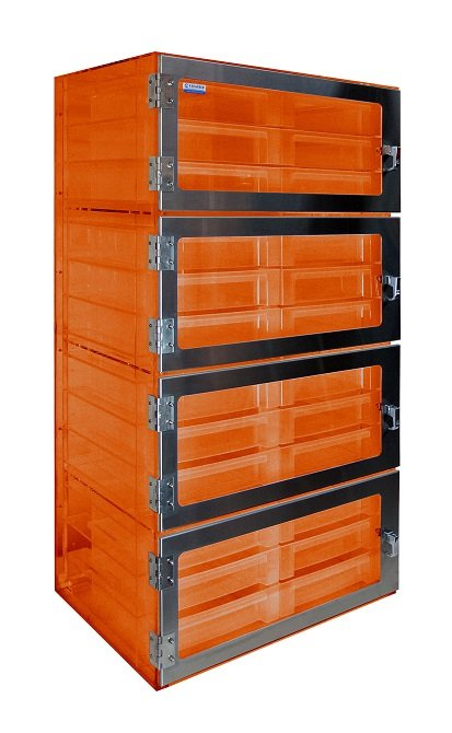 Four Door Tote Box Desiccator Amber Acrylic 26x18x50 - Cleatech Scientific