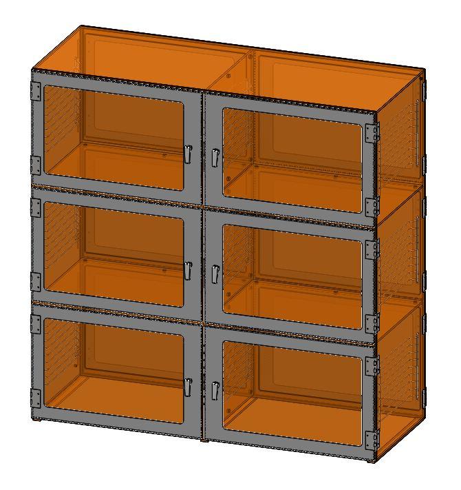 Nitrogen Dry Box  Six Door Desiccator Cabinet Amber