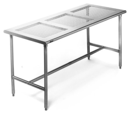 "Cleanroom Tables-Perforated Top, Stainless Steel 24""x84"""