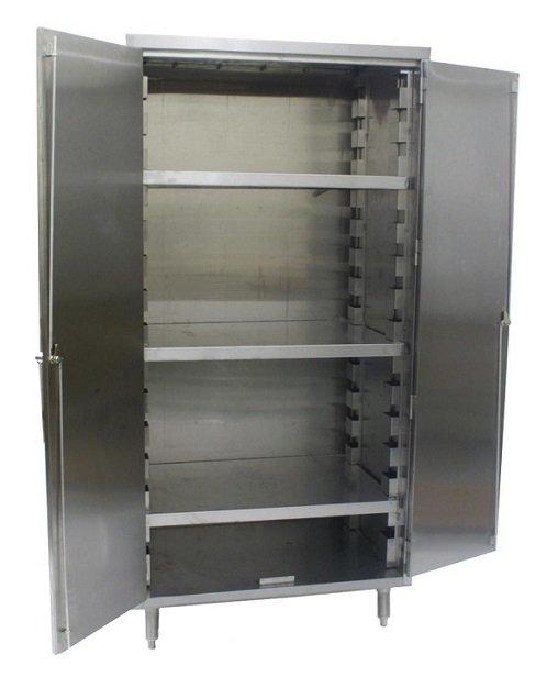 Vertical storage cabinet w slanted top shelves