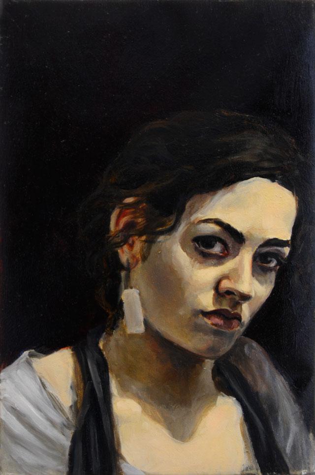 Self-Portrait in Profile, Oil on Canvas, 16 x 20, 2014