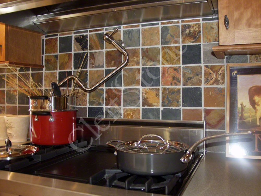 slate backsplash in kitchen small floor tile ideas installations the cleftstone works rich autumn