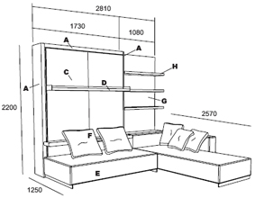 The Atoll sofa wall bed, many different sofa options