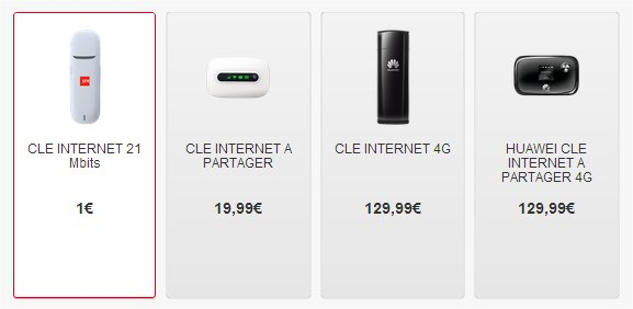 Prix clé 3G sfr