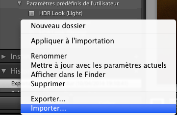 Importer un préset Lightroom